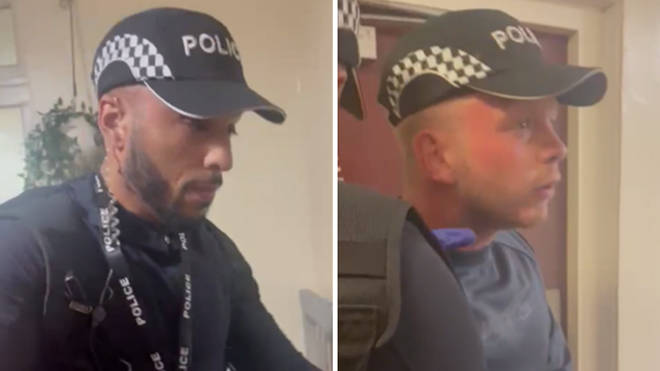 Police are hunting two fake police officers who tried to gain access to a property