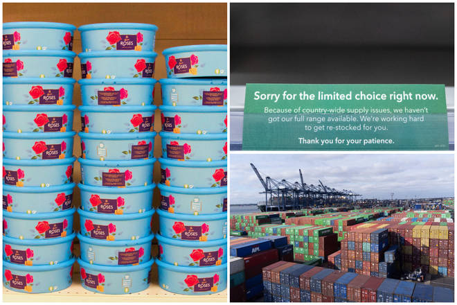 Clockwise from left: a 'disguised' shelf with piles of boxes of Roses, an apology for low stock, and the logjam in Felixstowe