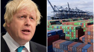 Boris Johnson has called in foreign workers to sort out supply chain issues, which include a massive build-up of cargo in Felixstowe, right