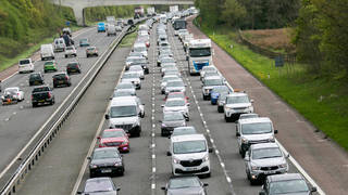 A file photo of traffic on the M6, where a 'serious collision' has caused six miles of queues today