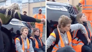 The mother rammed her car into the protesters when they refused to move.