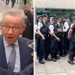 Michael Gove was ambushed by anti-vaccine protesters in Westminster.