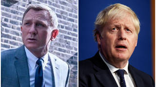 Boris Johnson, right, pictured in the briefing room where he watched the James Bond film last night