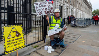 Activist Steve Bray protests outside Downing Street