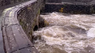The River Kent in Burneside, Cumbria, has almost burst its banks already