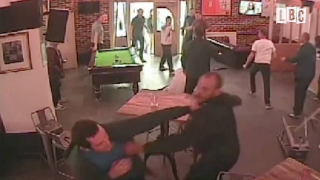 CCTV shows Stoke City hooligans fighting each other after losing to Burton Albion 3-0 in a pre-season friendly