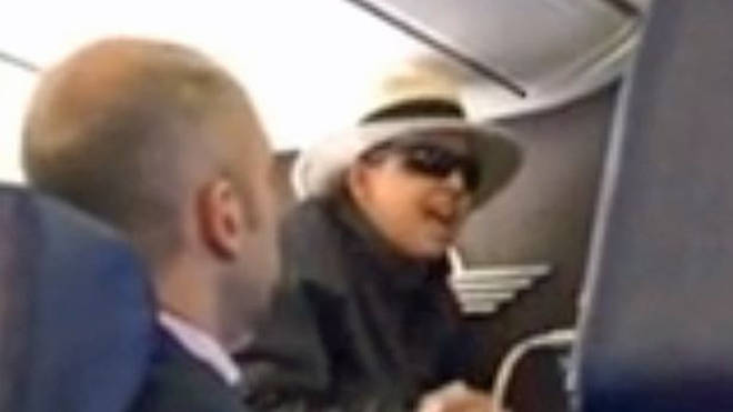The woman in sunglasses is said to have screamed at the cabin crew