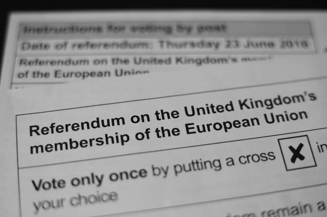 Referendum polling card on leaving the European Union