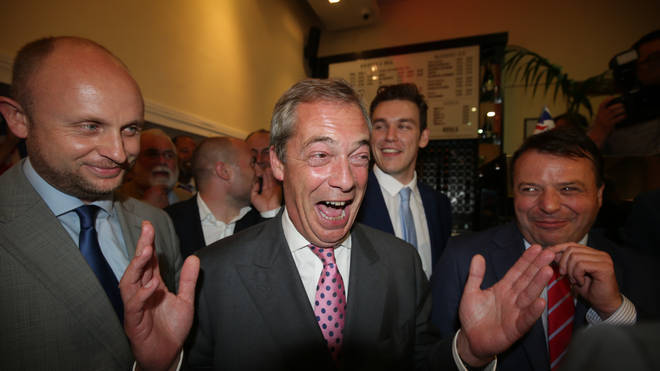 Nigel Farage at a Leave.EU referendum party.