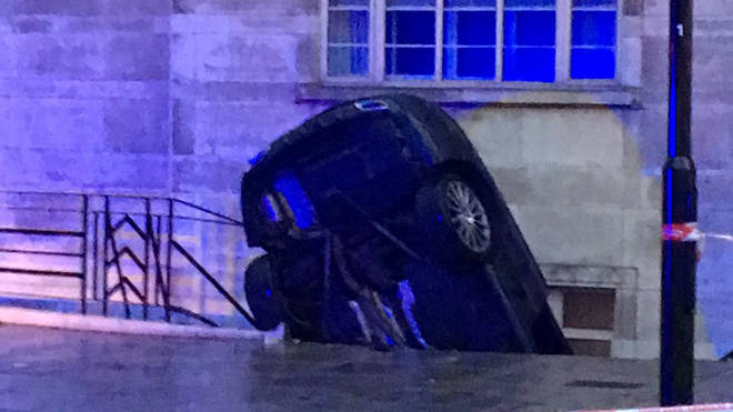 This car crashed through railings in Lancaster Gate