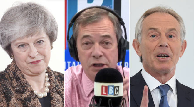 Nigel Farage supports Theresa May's criticism of Tony Blair, who has called for a second Brexit referendum