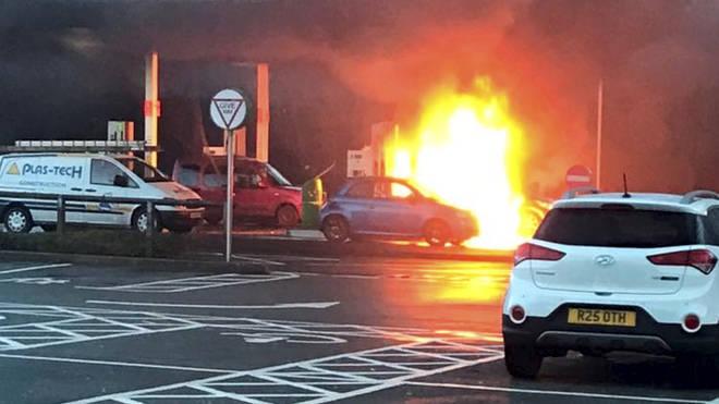 Julie's Smart car erupts into a fireball