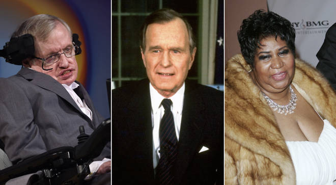 Stephen Hawking, George HW Bush, and Aretha Franklin