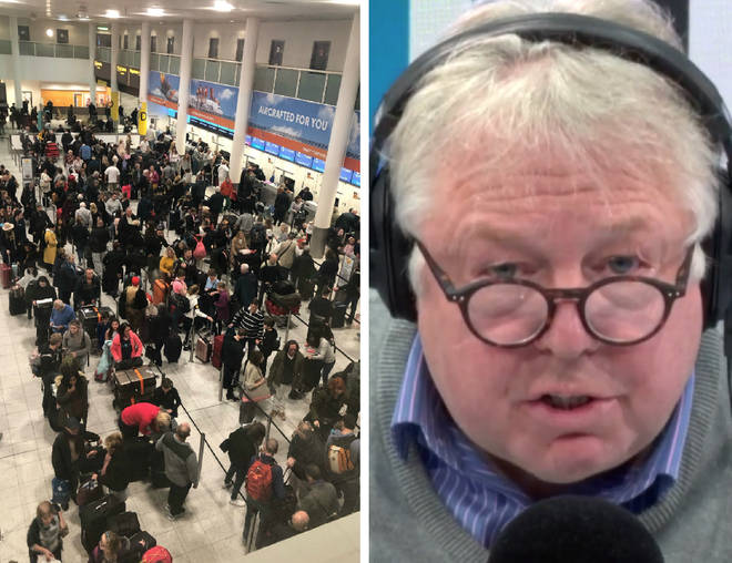 A senior officer at Gatwick Airport was grilled by Nick Ferrari on Friday