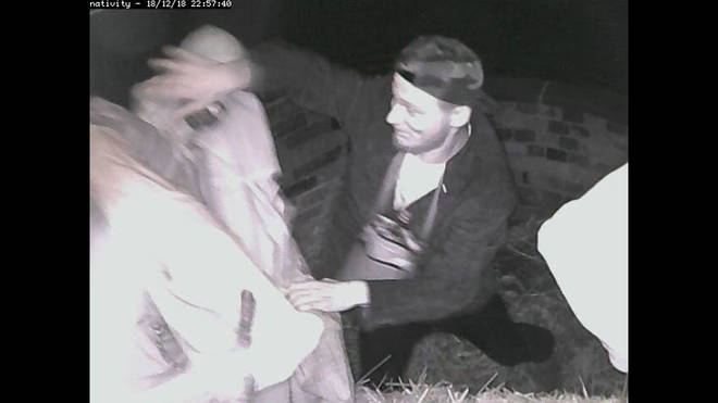 CCTV captures man stealing Joseph's head