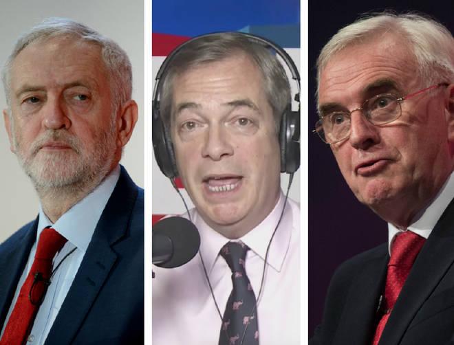 Jeremy Corbyn, John McDonnell, Nigel Farage