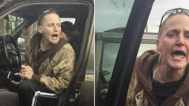 A knife wielding woman shouted racial slurs over the way a black couple parked their car