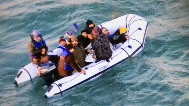 Migrants on the Channel in a rubber dinghy
