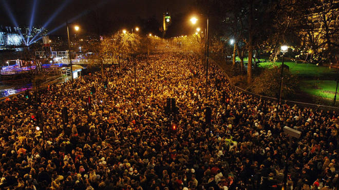 Crowds watching the New Year's fireworks in central London