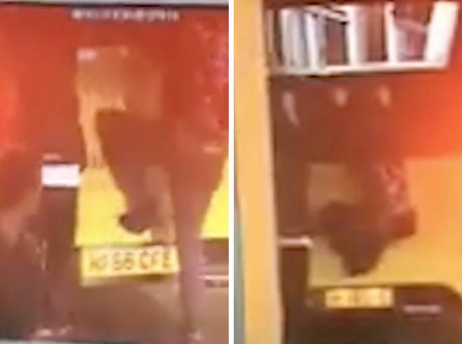 CCTV captured the pair clinging to the back of a moving bus