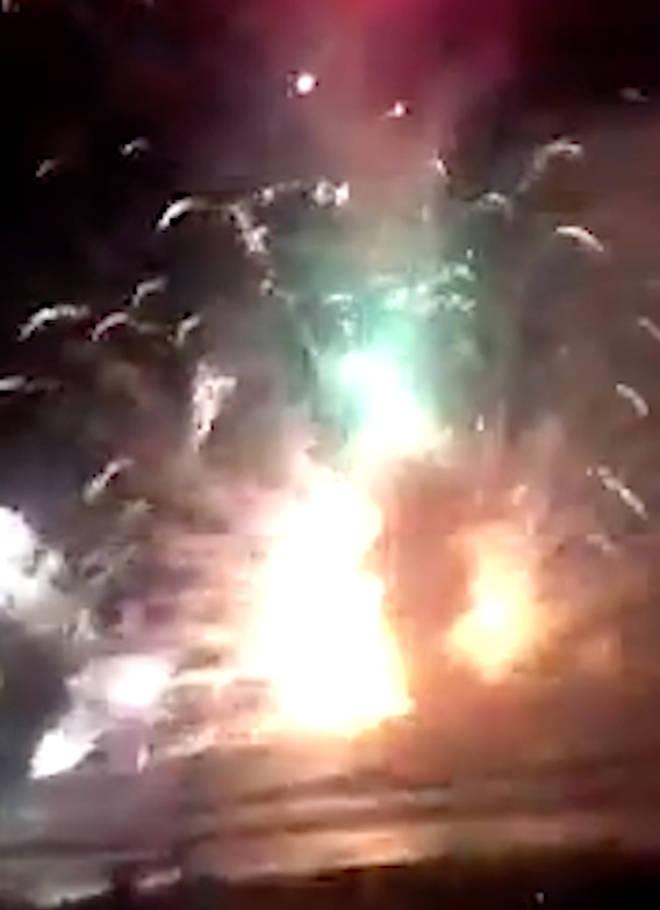 Fireworks barge explodes