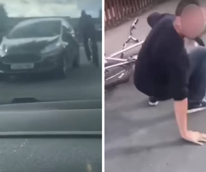 The shocking incident was filmed from inside the offending car