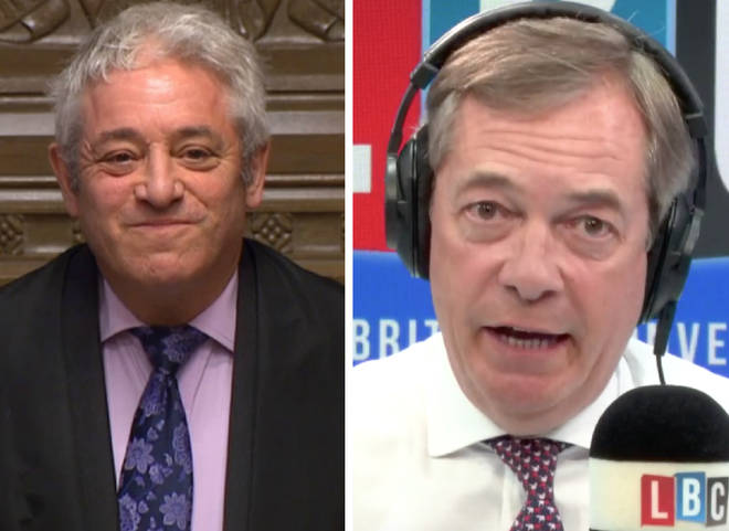 Nigel Farage ripped into John Bercow on Wednesday night