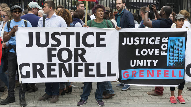 Justice for Grenfell protestors at an organised march in Downing Street on June 24 Photo: PA