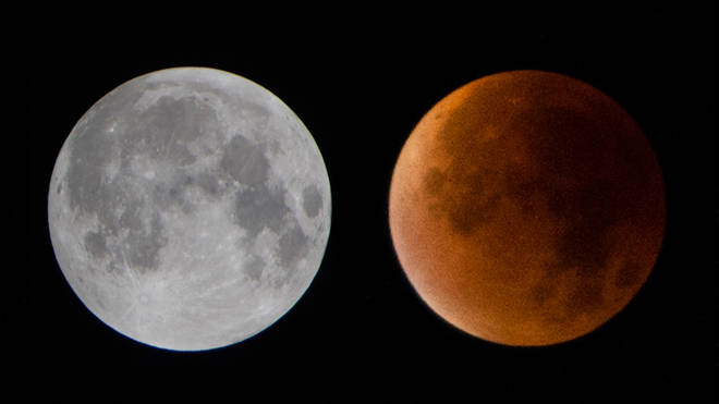 The moon during a total lunar eclipse appears reddish in comparison to normal.