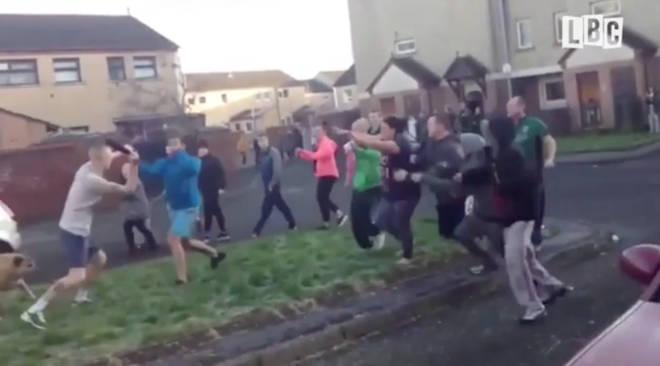 Mass street brawl