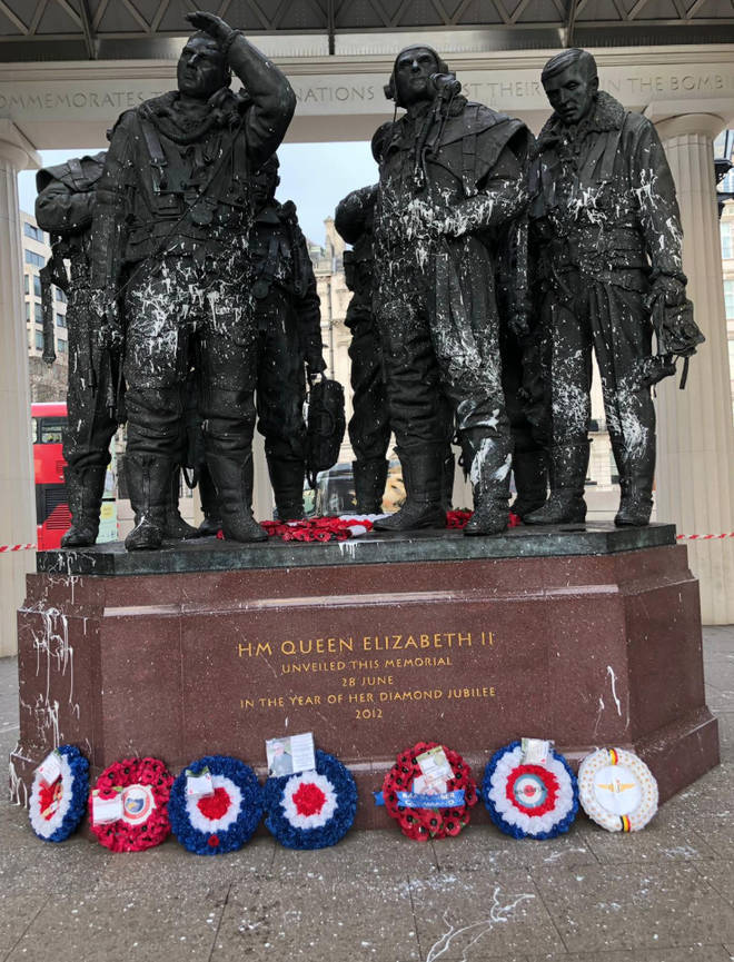 The Bomber Command statue was one of the memorials targeted