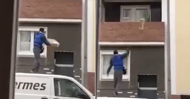 The moment a van driver throws a parcel from the roof of his van