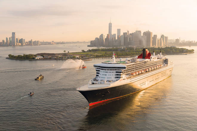 The Cunard cruise ship outside New York City