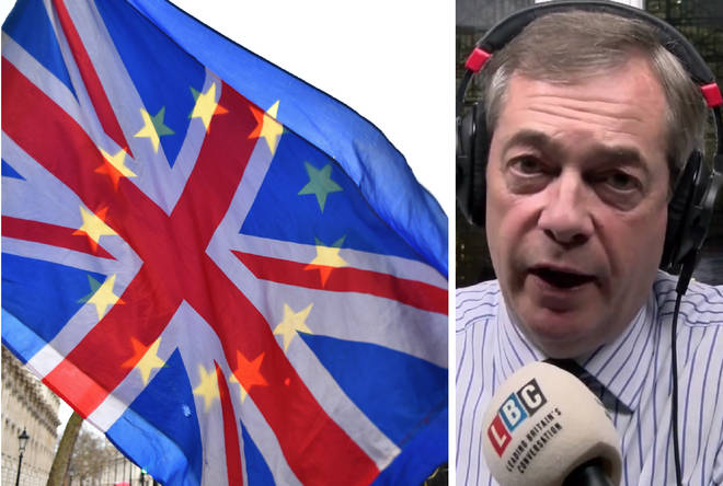 Nigel Farage took listeners' calls from Brussels on Wednesday