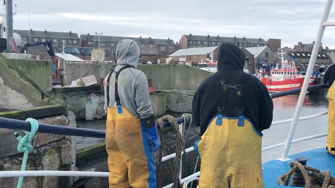 Fishermen in Fraserborough, Scotland