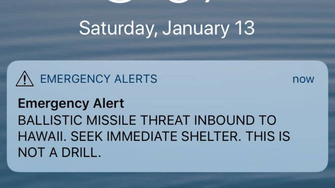 The Hawaii missile alert, which ended up being a false alarm