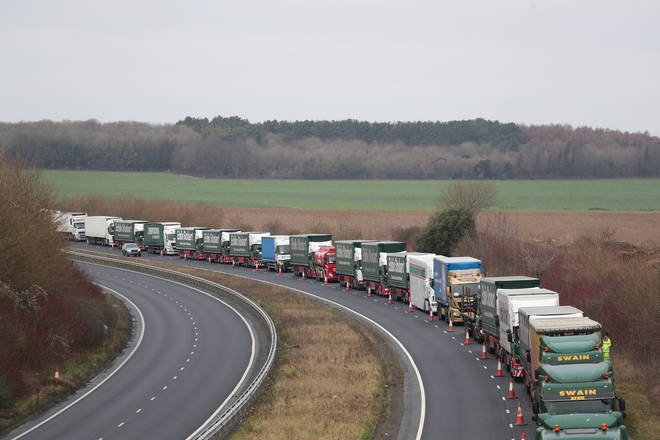 Lorries queue up on the M20 towards the Port of Dover