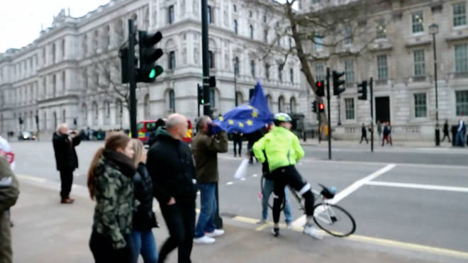 Cyclist has his EU flag stolen outside Downing Street