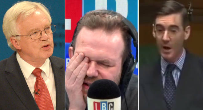 James O'Brien played back clips from Jacob Rees-Mogg and David Davis