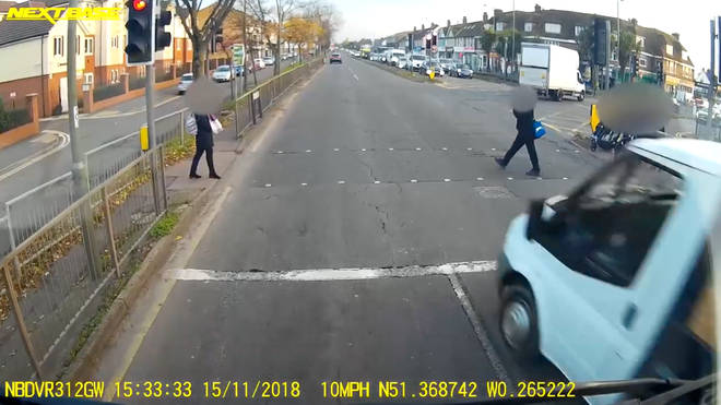 14-year-old pedestrian narrowly avoids being hit by van jumping red light