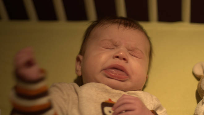A baby sneezing