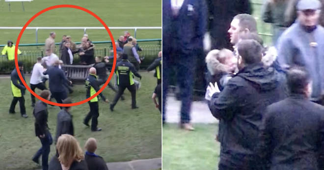 A brawl erupted at a racecourse in Merseyside