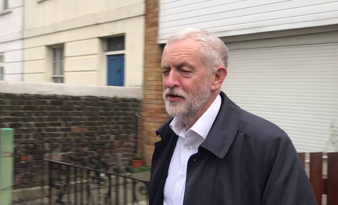 Jeremy Corbyn leaving his north London home this morning