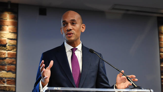 "Chuka Umunna speaking at the announcement of ""The Independent Group"""