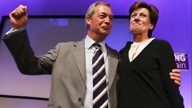 Nigel Farage and Diane James celebrating her election as leader of Ukip