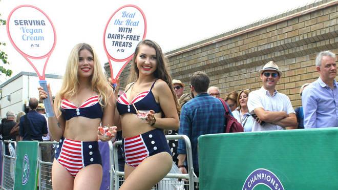 PETA activists serve cream at Wimbledon