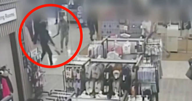 The chilling machete attack was caught on CCTV
