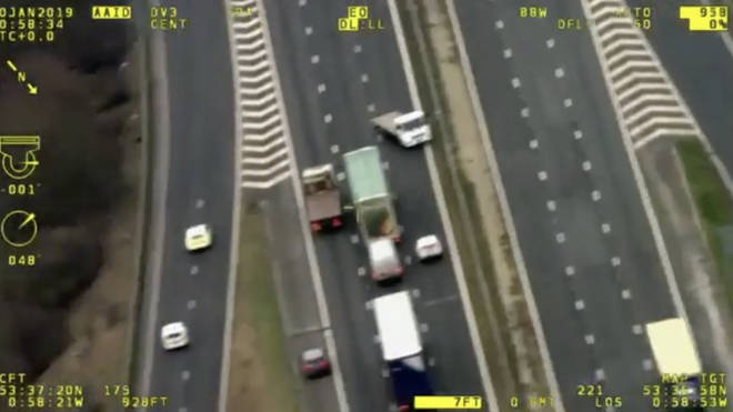 The seven-and-a-half tonne truck stopped traffic as it fled police