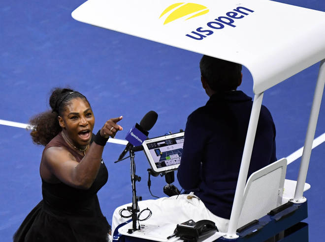 Serena Williams shouts abuse at the umpire in the US Open final