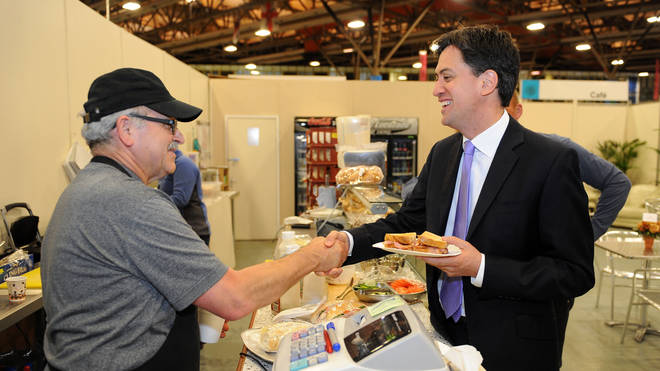Former Labour leader Ed Miliband buys a bacon sandwich before the 2014 European elections